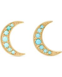 Andrea Fohrman - Crescent Moon 18-karat Gold Turquoise Earrings - Lyst