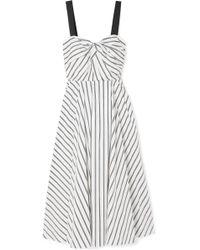 Jason Wu - Grosgrain-trimmed Striped Cotton-poplin Dress - Lyst