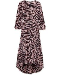 Ganni - Zebra-print Crepe Wrap Dress - Lyst
