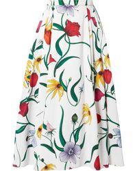 Carolina Herrera - Pleated Floral-print Cotton-blend Faille Midi Skirt - Lyst