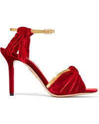 Charlotte Olympia - Broadway Metallic Leather-trimmed Velvet Sandals - Lyst