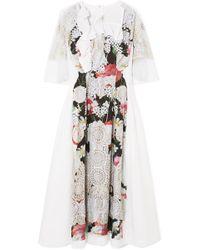 Comme des Garçons - Ruffled Printed Voile Midi Dress - Lyst