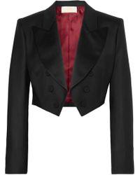 Sara Battaglia - Cropped Tuxedo Jacket - Lyst