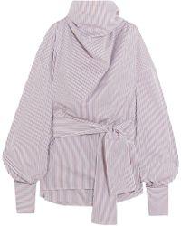 Wanda Nylon - Striped Cotton-poplin Turtleneck Top - Lyst