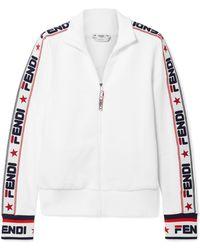 Fendi - Embroidered Cotton-blend Jersey Track Jacket - Lyst