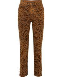 Saint Laurent - Leopard-print High-rise Slim-leg Jeans - Lyst