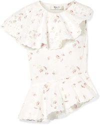 Sea - Alouette Asymmetric Floral-print Cotton Top - Lyst