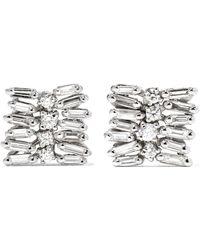 Suzanne Kalan - 18-karat White Gold Diamond Earrings - Lyst
