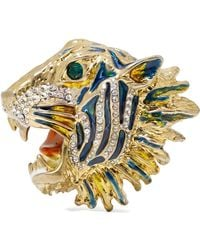 Gucci - Gold-plated, Crystal And Enamel Brooch - Lyst