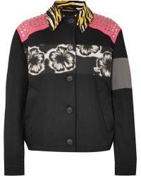 Prada - Studded Printed Canvas And Denim Jacket - Lyst