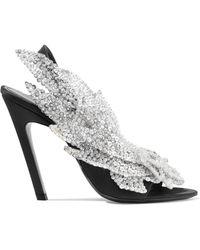 Balenciaga - Sequin-embellished Satin Slingback Sandals - Lyst