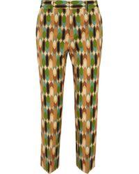 Prada - Cropped Printed Wool-blend Twill Straight-leg Pants - Lyst