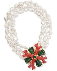 Kenneth Jay Lane - Layered Gold-tone, Enamel, Crystal And Faux Pearl Necklace - Lyst