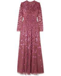 Needle & Thread - Robe Du Soir En Tulle À Sequins Rosmund - Lyst
