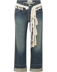 Loewe - Rope-trimmed Cropped Boyfriend Jeans - Lyst