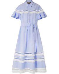 Lela Rose - Fringed Lattice-trimmed Striped Cotton-poplin Midi Dress - Lyst
