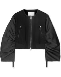 3.1 Phillip Lim - Shirred Cropped Crepe And Taffeta Bomber Jacket - Lyst