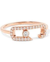 Messika - Move Addiction 18-karat Rose Gold Diamond Ring - Lyst