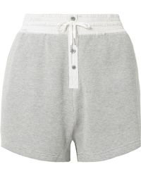 T By Alexander Wang | Striped Poplin-trimmed Waffle-knit Cotton Shorts | Lyst