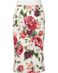 Dolce & Gabbana - Floral-print Cady Midi Skirt - Lyst