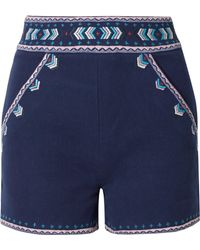 Talitha - Embroidered Cotton-twill Shorts - Lyst