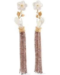 Of Rare Origin - Bloom Gold Vermeil, Mother-of-pearl And Moonstone Earrings Gold One Size - Lyst