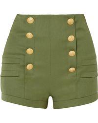 Balmain - Grain De Poudre Wool Shorts - Lyst