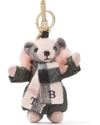 Burberry - Checked Cashmere And Shearling Keychain - Lyst
