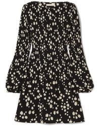 Maje - Mini-robe En Crêpe Plissée À Imprimé Fleuri - Lyst