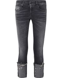 R13 - Kate Low-rise Distressed Skinny Jeans - Lyst