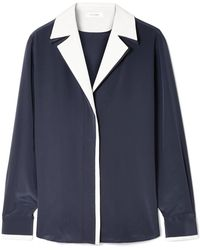FRAME - Two-tone Silk Crepe De Chine Shirt - Lyst