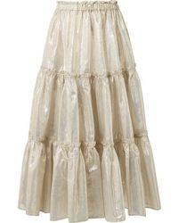 33e103c1fa Lisa Marie Fernandez - Tiered Cotton-blend Lamé Midi Skirt - Lyst