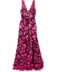 Marchesa notte - Embroidered Floral - Appliqué Gown - Lyst