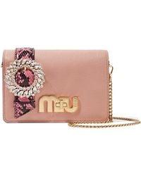 Miu Miu - My Miu Embellished Watersnake-trimmed Textured-leather Shoulder Bag - Lyst