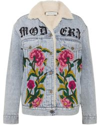 Gucci - Shearling-lined Embroidered Denim And Jacquard Jacket - Lyst