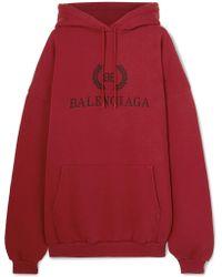 Balenciaga - Oversized Printed Cotton-jersey Hoodie - Lyst