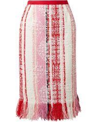Oscar de la Renta - Fringed Tweed Skirt - Lyst