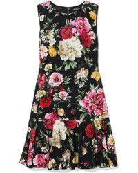 Dolce & Gabbana | Ruffled Floral-print Cady Mini Dress | Lyst