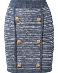 Balmain | Jersey-trimmed Tweed Mini Skirt | Lyst