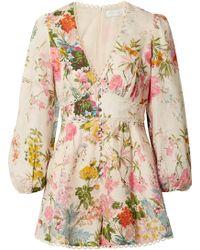 Zimmermann - Heathers Picot-trimmed Floral-print Linen Playsuit - Lyst