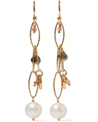 Chan Luu - Gold-plated, Pyrite And Pearl Earrings - Lyst