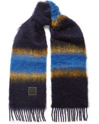 Loewe - Fringed Striped Mohair Scarf - Lyst