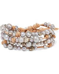 Chan Luu - Suede, Silver And Pearl Wrap Bracelet - Lyst