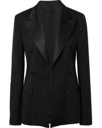 RTA - Grayson Silk Satin-trimmed Wool Blazer - Lyst
