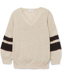 Brunello Cucinelli | Beaded Striped Cotton Jumper | Lyst