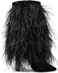 Saint Laurent - Yeti Feather-trimmed Velvet Boots - Lyst