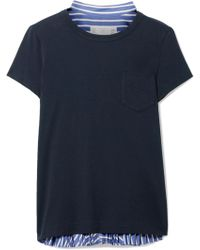 Sacai - Cotton-jersey And Striped Cotton-poplin T-shirt - Lyst