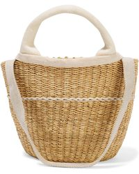 Muuñ - Elisa Straw And Cotton-canvas Tote - Lyst