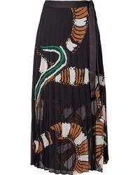 By Malene Birger - Weaver Pleated Printed Chiffon Wrap Midi Skirt - Lyst
