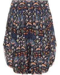 Chloé - Pleated Floral-print Georgette Shorts - Lyst